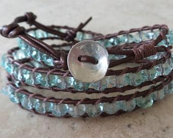 Aqua Quartz and Leather Wrap Bracelet