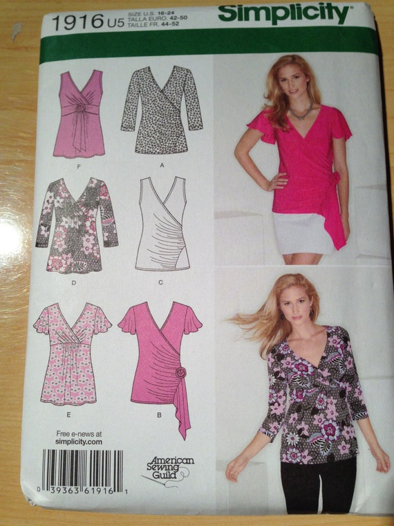 Simplicity 1916 Sewing Pattern Misses Knit Tops Size 16-24