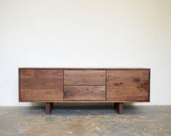 "FREE SHIPPING 65"" Walnut Media Cabinet - Modern Credenza"