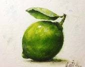 Lime Original Oil Painting by Nina R.Aide Still Life Kitchen Art Small Daily Painting Framed