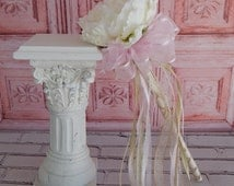 Flower Girl Wand- White Peony Pink and Gold Wand- Wedding Accessory