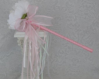 Flower Girl Wand- White Peony Pink Wand Wedding Accessory