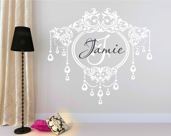 Chandelier Name Decal, Fancy Wall Decal, Chandelier Decor, Monogram Name Decal, Elegant Name Decal, Nursery Name Decal - WD0041