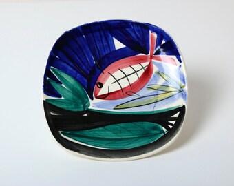 Vintage Stavangerflint Inger Waage fish plate 1950s Norwegian pottery mid century modern abstract art, Scandinavian modern ceramics