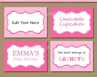 editable pink buffet cards printable labels tent cards pink candy buffet labels
