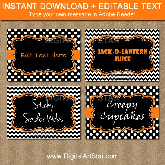 Halloween Candy Buffet Labels EDITABLE Printable Halloween