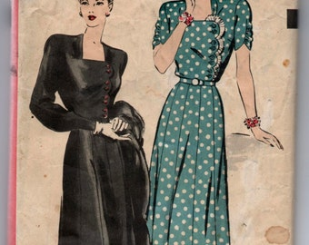 """1940's Hollywood One-Piece Dress Pattern with Button detailing - Bust 38"""" - No. 1919"""
