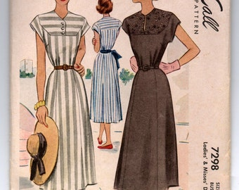 """1940's Simplicity One-Piece Dress with Cap Sleeve Pattern - Bust 36"""" - No. 7298"""