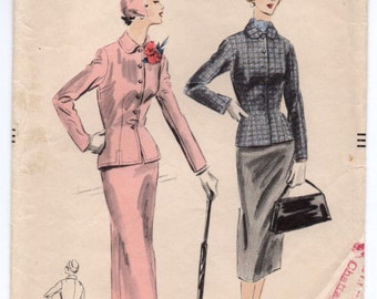 "1950's Fitted Suit with Pencil Skirt by Vogue - Bust 32"" - No. 7936"