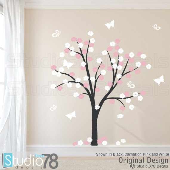 Cherry Blossom Tree Vinyl Wall Decal | Flower and Butterfly Tree | Vinyl Wall Tree Decal | Baby Nursery Decals | Childrens Nursery Wall Art