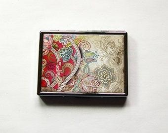 Paisley Cigarette Case, Slim Cigarette Case, Pink Paisley, Paisley case, Metal Cigarette Box, Cigarette Holder, cigarette case (5963)