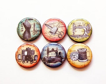 Quilting Magnets, Sewing Magnets, Button magnets, Kitchen Magnets, Fridge Magnet, gift for mom, gift for quilter, gift for seamstress (5465)