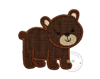 Baby brown bear iron on applique, small woodland bear embroidered fabric iron on patch, DIY iron on applique, iron on embellishments