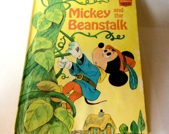 Vintage Disney's Mickey and the Beanstalk Children's Hardcover Picture Book  1973