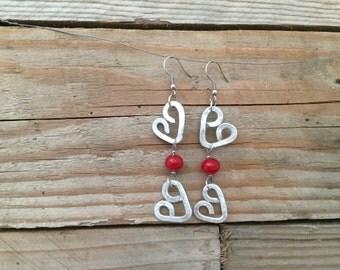 red heart earrings with handblown lampwork beads