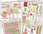 Gingham Christmas Printable MEGA Planner Kit in Red&Green 4 PDFs,EC or Happy Planner Nativity Jesus is the Reason OVER 300 Stickers