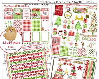 Planner Kit! Gingham Christmas Printable MEGA Planner Kit in Red&Green 4 PDFs, Nativity Jesus is the Reason OVER 300 Stickers