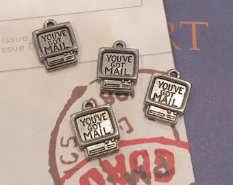 You've Got Mail Computer Charms -4 pieces-(Antique Pewter Silver Finish)