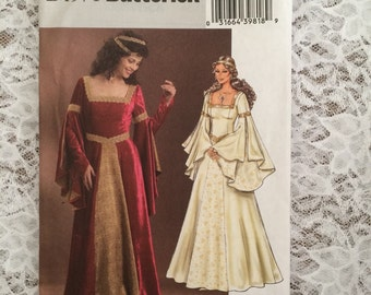 Historical Medieval Renaissance Costume Gown, Dress Pattern. Butterick B4571 Misses Size 6 - 12