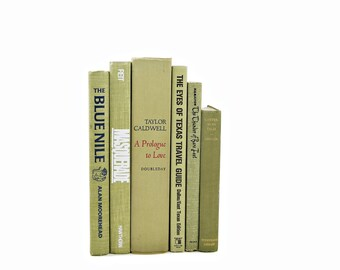 Green Olive DECORATIVE BOOKS, VIntage Book Decor,Old Book Set, Moss Book Stack, Instant Library, Books for Decor, Book Shelf Decor Bundle