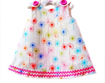 Rainbow Wildfield in Gypsy - Rainbow Dress - Special Date - Gifts - Girls Clothing - Toddler Girls Dress - Children Clothing - 3M to 4T