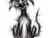 Grubby George Print download Very skinny thin dog pooch puppy Quite shabby and scruffy but cute friendly little pet Animal image picture
