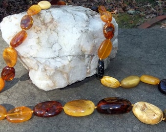Vintage AMBER Necklace, Hand Knotted, Mixed Large Beads