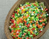 20g Czech seed beads Mixed green orange seed beads MIX-14 Czech rocailles Seed bead soup seed beads last