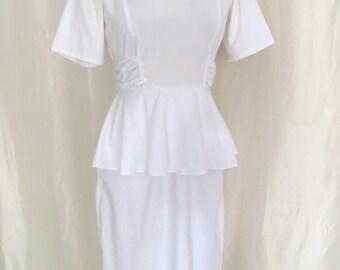 Vintage 70s nurse uniform, womens white dress, summer dress, peplum, nurse costume