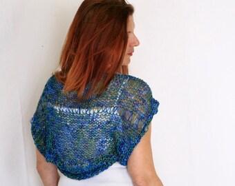 Blue green shrug, summer wear, Ariane, handmade loose knit shrug, ready to ship