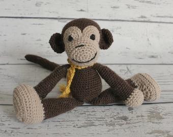 Louie the Mini Monkey, Crochet Monkey, Stuffed Animal, Monkey Amigurumi, Plush Animal, Ready to Ship