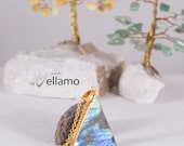 Gold dipped rainbow flashy blue golden labradorite stone pendant, sparkly triangle talisman stone, bohemian jewelry, golden stone pendant