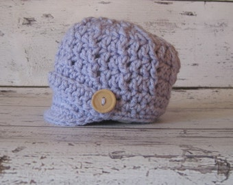 Crochet Baby Hat Newsboy Purple lavender Girl Boy Photo Prop Wood Button lilac