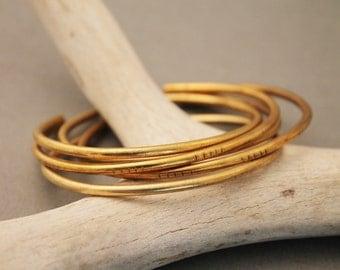 Johanna minimalist, modern brass stackable cuff bracelets