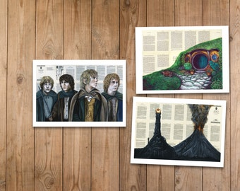 Hobbits Print Set of The Shire, Mordor, Mary, Pippin, Frodo and Sam