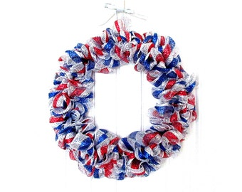 Patriotic Wreath  - Deco Mesh Wreath - Red, White and Blue Wreath - 4th of July Wreath - Outdoor Wreath -