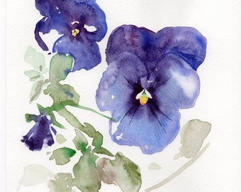 Violets Watercolor original painting, viola, spring flowers