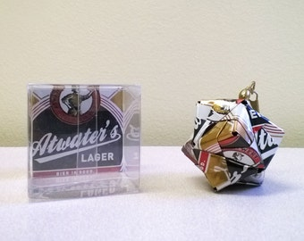 Atwater's Lager Beer Can Origami Ornament.  Upcycled Recycled Repurposed Art