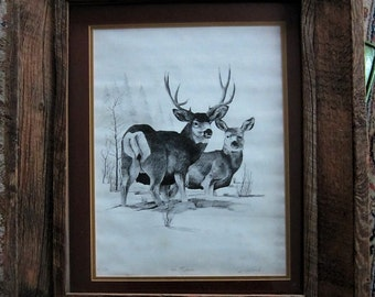 Rustic Wood Frame Deer Print Titled The 4th Season Numbered Signed by Artist Colorado Art Print Wildlife Art