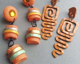 80's Orange Earrings, set of 2 pairs, pierced, dangle drop, metal, plastic, neon, vintage, Disco, original, egst, Greece