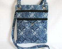 Hip bag- Blue floral medallion print cotton