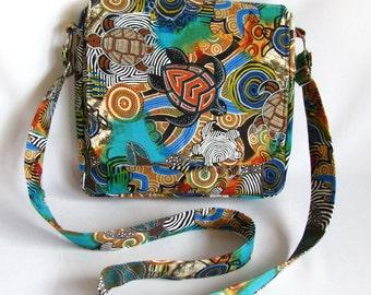 Large messenger bag- Sea turtle cotton print