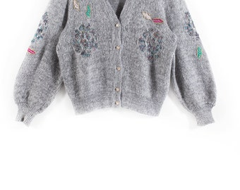 Embroidered grey cardigan // 80s // M size