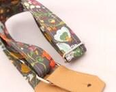 Ukulele Strap - Botanical Garden - Leather Ends and Optional Tie Lace