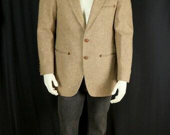 Men's wool blazer Retro tweed jacket Western style sport coat Mens 90s vintage blazer Casual clothing Tan brown sportcoat 40