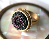 Antique Button Ring, Art Glass Jewelry, Intricately carved Black Glass Ring, Purple Lustre Adjustable Ring Gold, veryDonna, very Donna