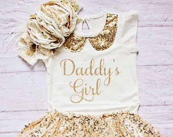 Daddy's Girl Outfit...Father's Day Outfit / Girls Father's Day Clothing / Father's Day Gift from a Toddler / Gold Glitter Skirt Top Headband