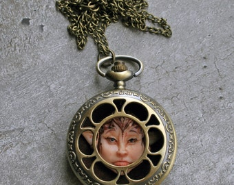 Pocketwatch necklace - Pendant watch necklace - Elf necklace - Fantasy necklace - Fairy necklace