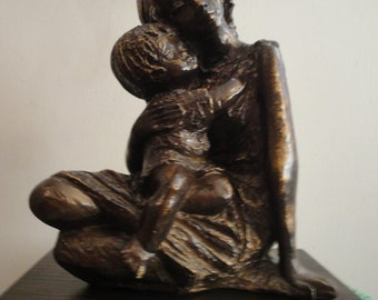 Vintage Bronze Mother & Child Statue with Wood Base From the 1970s