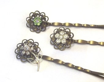 Rhinestone Hair Accessory, Vintage Bobby Pins,  Flower Hair Jewelry, Rhinestone Hair Pins. Elegant Hair Accent